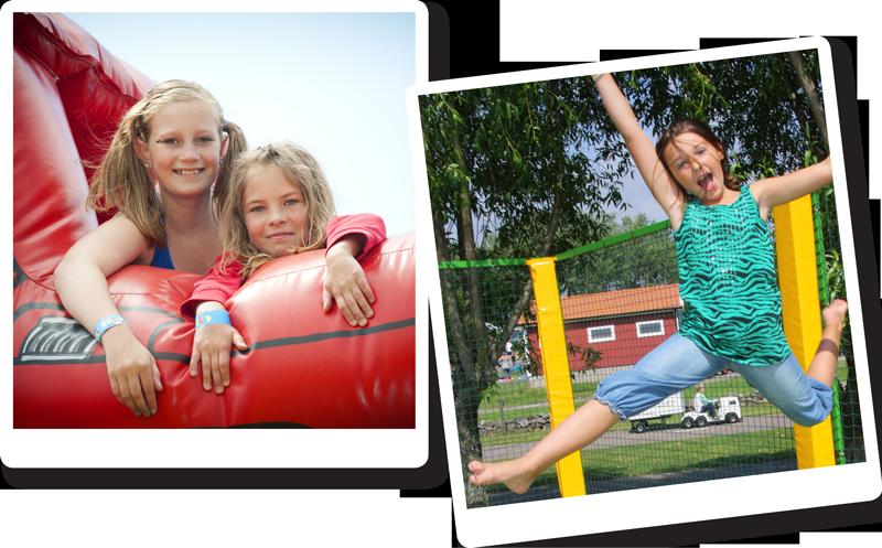 I Leklandet på Barnens Gård finns studsmattor och hoppborgar för alla storlekar.