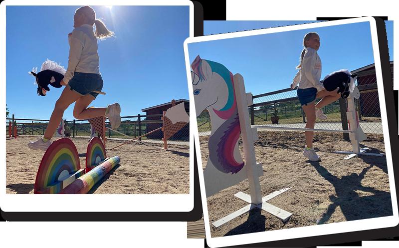 I Leklandet på Barnens Gård kan du tävla med din egen eller lånade käpphäst.
