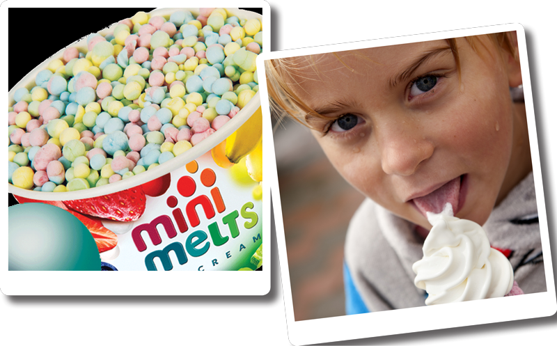 Bilder på glada barn som firar sin födelsedag hos oss med glass och godis.